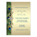 Mariage de paon de vert vert et d'or invitations personnalisables
