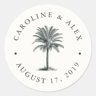 Mariage de paume de La Havane Sticker Rond