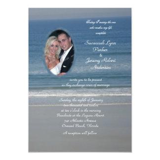 Mariage de photo d'amour d'océan carton d'invitation  12,7 cm x 17,78 cm