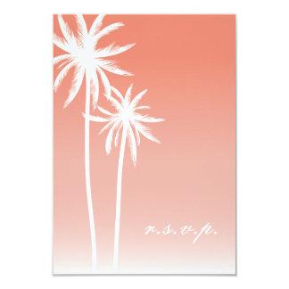 Mariage de plage de corail de palmiers d'Ombré Carton D'invitation 8,89 Cm X 12,70 Cm