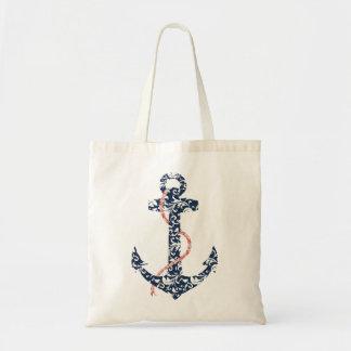 Mariage de plage de marine et d'ancre de corail sacs en toile