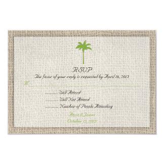Mariage de plage de palmier et de toile de jute carton d'invitation 8,89 cm x 12,70 cm