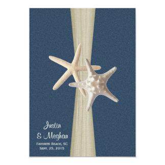 Mariage de plage de toile de jute et d'étoiles de carton d'invitation  12,7 cm x 17,78 cm