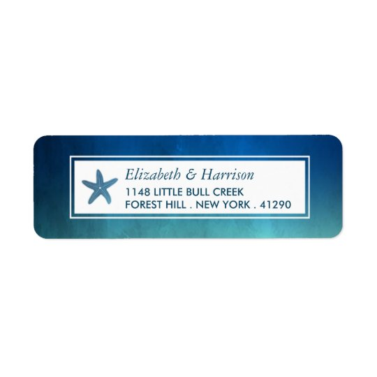 Mariage de plage d'étoiles de mer d'océan étiquettes d'adresse retour