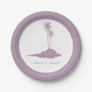 Mariage de plage moderne d'île - violette assiettes en papier