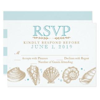 Mariage de plage nautique de coquillages RSVP Carton D'invitation 8,89 Cm X 12,70 Cm