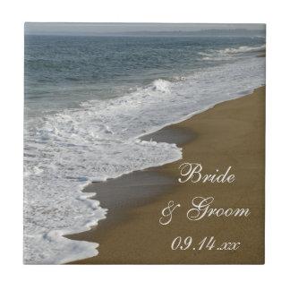 Mariage de plage petit carreau carré