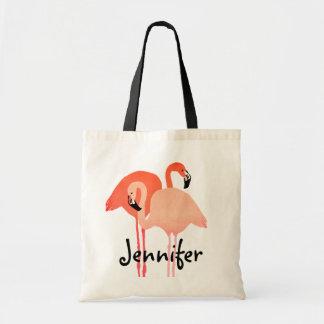 Mariage de plage rose de flamants sac fourre-tout