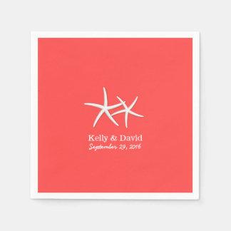 Mariage de plage rouge de corail d'étoiles de mer serviettes en papier
