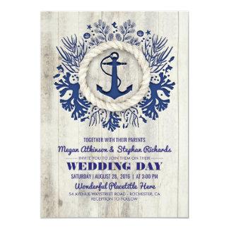 Mariage de plage rustique d'ancre nautique de carton d'invitation  12,7 cm x 17,78 cm