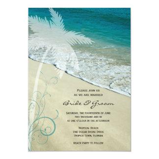 Mariage de plage tropical carton d'invitation  12,7 cm x 17,78 cm