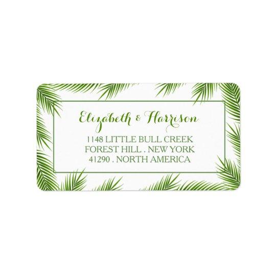 Mariage de plage tropical de palmettes étiquettes d'adresse