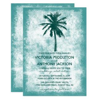 Mariage de plage tropical de palmier carton d'invitation  12,7 cm x 17,78 cm