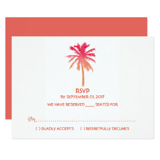 Mariage de plage tropical de palmier de coucher du carton d'invitation 8,89 cm x 12,70 cm