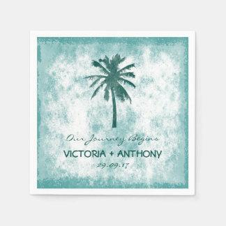 Mariage de plage tropical de palmier serviette en papier