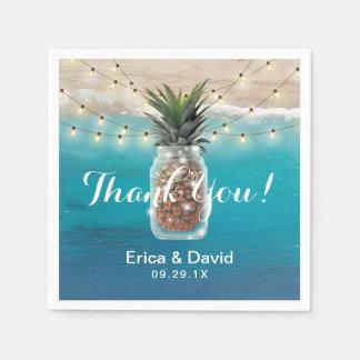 Mariage de plage tropical de pot de maçon d'ananas serviette jetable