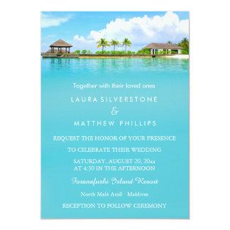 Mariage de plage tropical de station de vacances carton d'invitation  12,7 cm x 17,78 cm