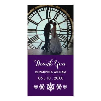 Mariage de pourpre royal - Merci de flocon de Carte Avec Photo