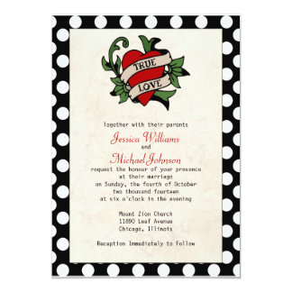 Mariage de rockabilly carton d'invitation  12,7 cm x 17,78 cm