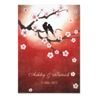 Mariage de Sakura&Love BirdsReception de fleurs de Carton D'invitation 8,89 Cm X 12,70 Cm