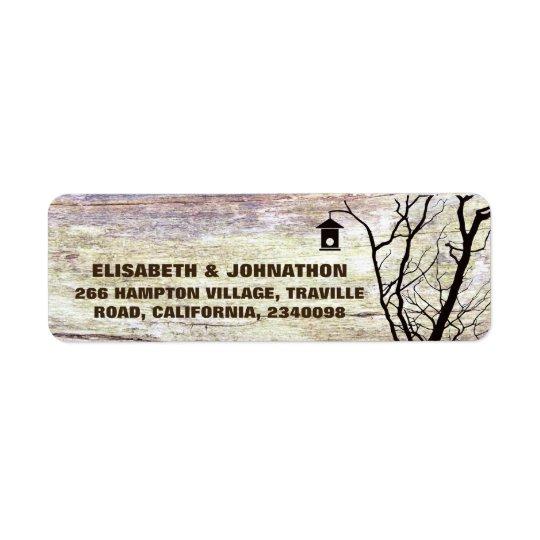 Mariage de silhouette de volière de région boisée étiquettes d'adresse retour