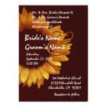 Mariage de tournesol d'or et de chocolat cartons d'invitation
