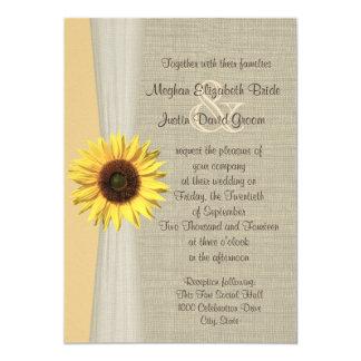 Mariage de tournesol et de toile de jute carton d'invitation  12,7 cm x 17,78 cm
