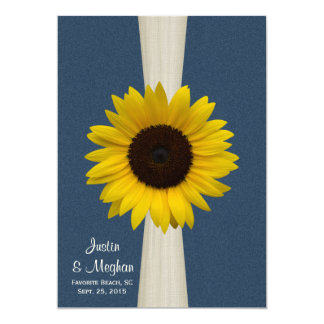 Mariage de tournesol et de toile de jute de bleu carton d'invitation  12,7 cm x 17,78 cm