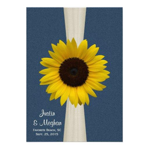 Mariage de tournesol et de toile de jute de bleu m invitations personnalisées