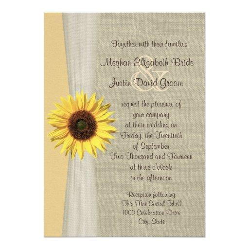 Mariage de tournesol et de toile de jute invitations personnalisées