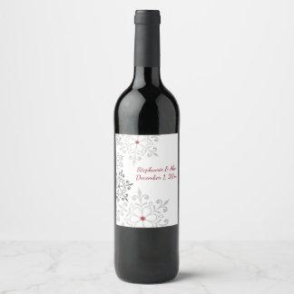 Mariage de vacances de flocon de neige d'hiver étiquette pour bouteilles de vin