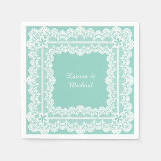 Mariage de vert de menthe de cadre de dentelle serviette en papier