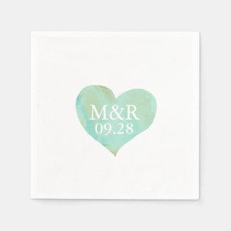 mariage décoré d'un monogramme de coeur serviettes jetables