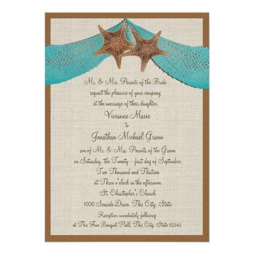 Mariage d'étoiles de mer d'océan cartons d'invitation