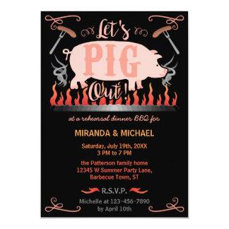 Mariage drôle de porc de BBQ de barbecue de dîner Carton D'invitation 12,7 Cm X 17,78 Cm