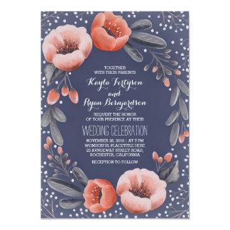 Mariage du souffle du bébé floral de guirlande de carton d'invitation  12,7 cm x 17,78 cm