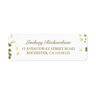 Mariage élégant blanc de confettis d'or étiquettes d'adresse retour