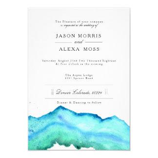 Mariage élégant bleu de l'aquarelle   carton d'invitation  12,7 cm x 17,78 cm