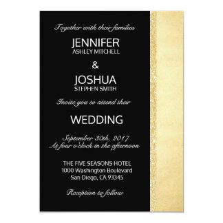 Mariage élégant chic fait sur commande de noir et carton d'invitation  12,7 cm x 17,78 cm
