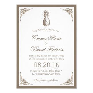Mariage élégant d'ananas vintage carton d'invitation  12,7 cm x 17,78 cm