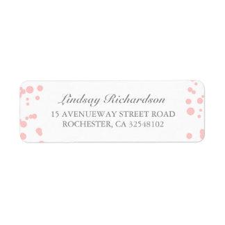 Mariage élégant de confettis argentés et roses étiquette d'adresse retour