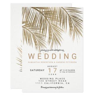 Mariage élégant de faux de palmier moderne d'or carton d'invitation  12,7 cm x 17,78 cm
