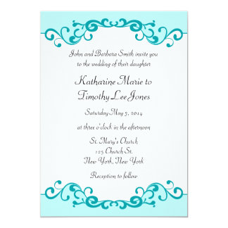 Mariage élégant de frontière de rouleaux carton d'invitation  12,7 cm x 17,78 cm
