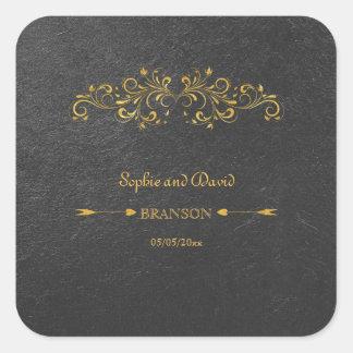 Mariage élégant de noir de Flourish de feuille Sticker Carré