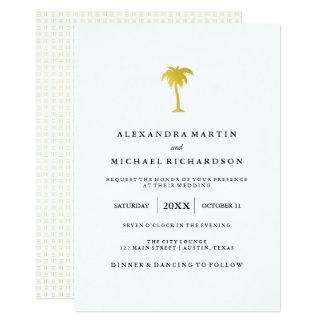 Mariage élégant de palmier d'or de Faux Carton D'invitation 12,7 Cm X 17,78 Cm