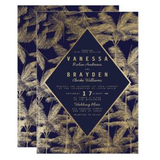 Mariage élégant de palmier d'or de faux de bleu carton d'invitation  12,7 cm x 17,78 cm