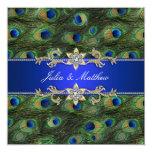 Mariage élégant de paon de bleu royal faire-part personnalisé