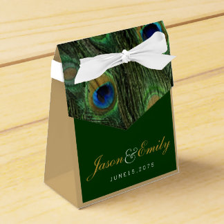Mariage élégant de paon de vert vert et d'or boites de faveur