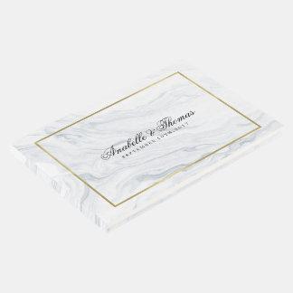 Mariage élégant de texture de marbre et d'or livre d'or