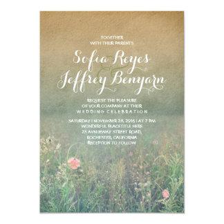Mariage élégant et rêveur de pré vintage d'été carton d'invitation  12,7 cm x 17,78 cm